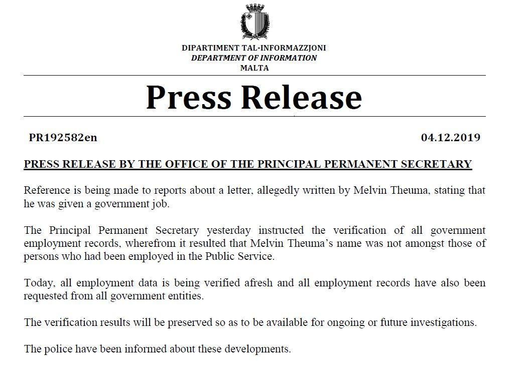 Statement about Theuma's government job.