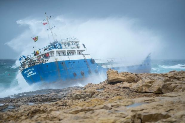 The vessel ran aground in Qawra. Photo: Clive Xuereb