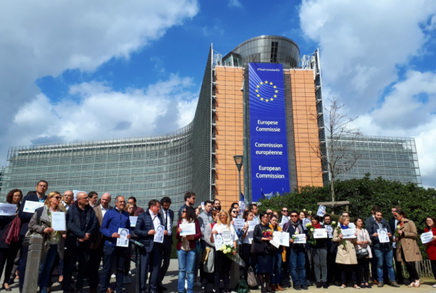 The vigil outside the European Commission in Brussels.