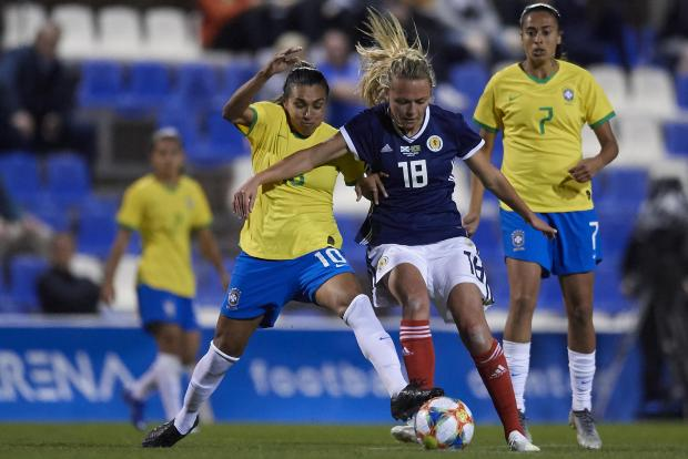 Claire Emslie (right) of Scotland and Manchester City.