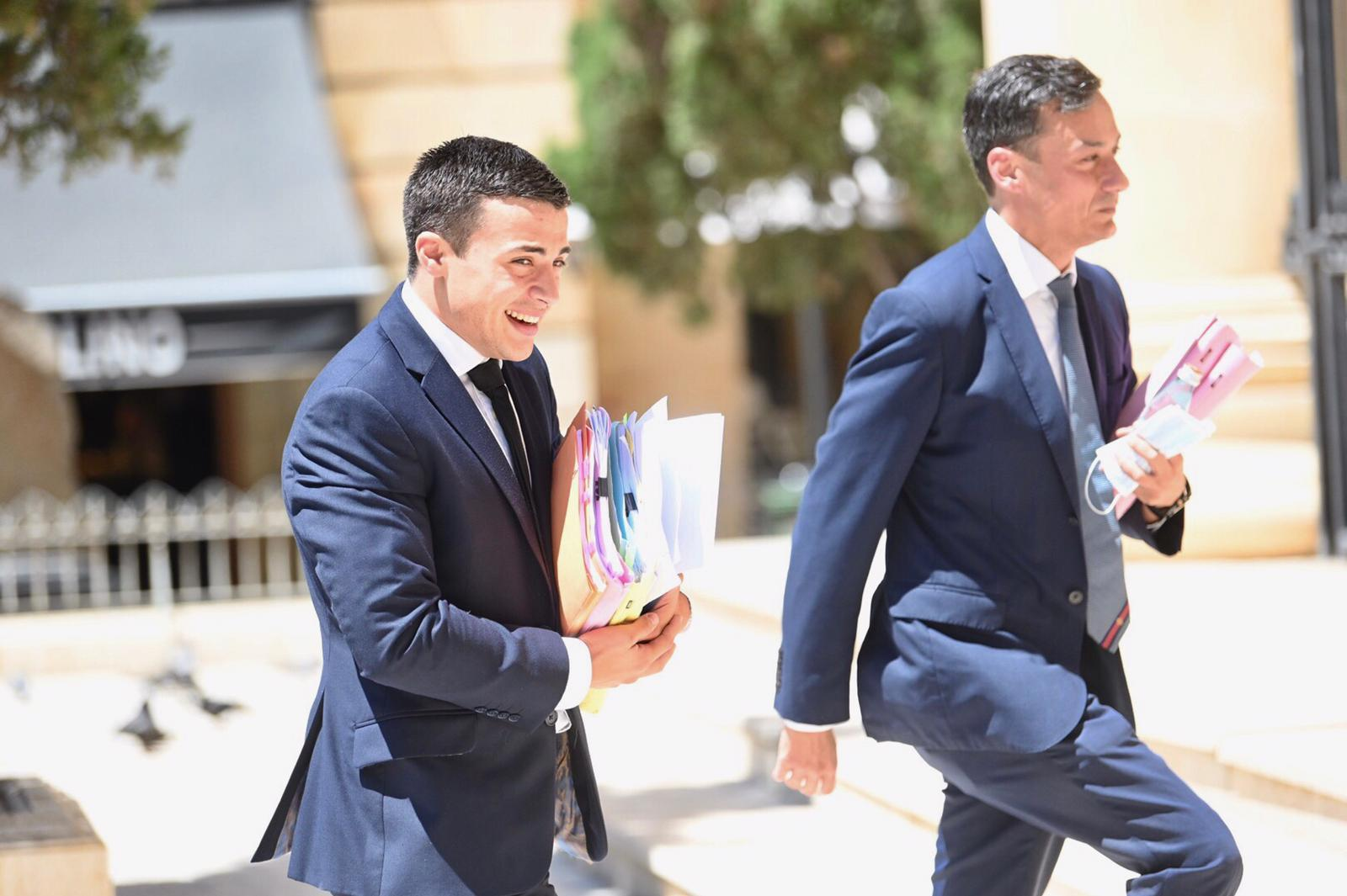 Lawyers Charles Mercieca and Gianluca Caruana Curran walking into court on Thursday. Photo: Mark Zammit Cordina