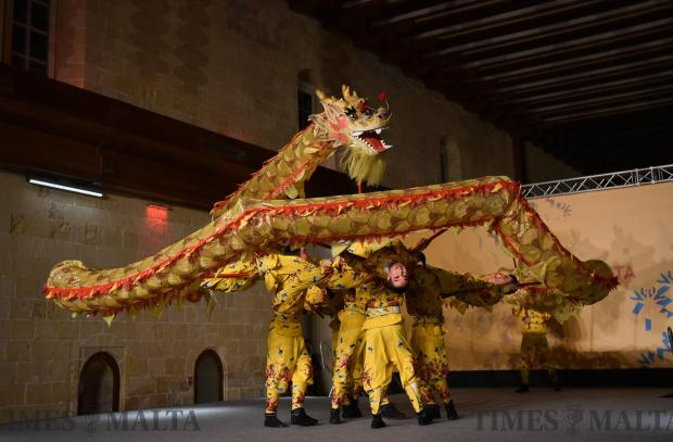 China's Zhejiang Wu Opera Troupe perform on stage during the Chinese new year celebrations held in Valletta on February 14. Photo: Mark Zammit Cordina