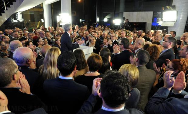 A jubilant Simon Busuttil addresses a crowd at a PN rally to celebrate the acquisition of an additional two seats in parliament on November 25. Photo: Chris Sant Fournier