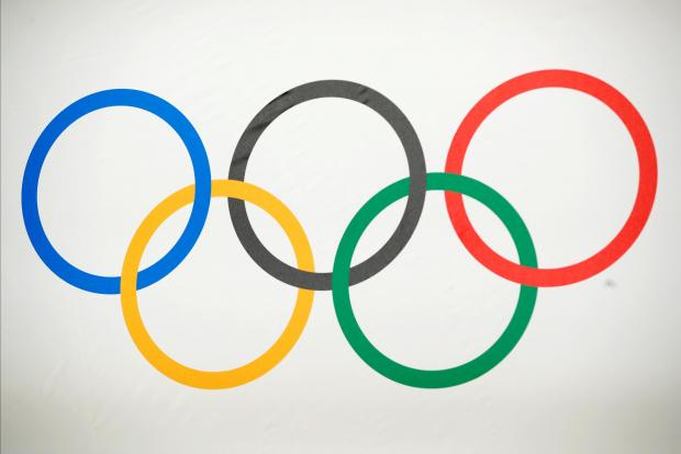 The Olympic rings are pictured before a news conference of the International Olympic Committee (IOC) in Lausanne, Switzerland.