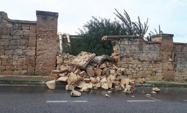 A damaged wall in Naxxar. Photo: Christian Borg
