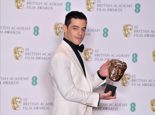 US actor Rami Malek poses with the award for a Leading Actor for his work on the film 'Bohemian Rhapsody'.