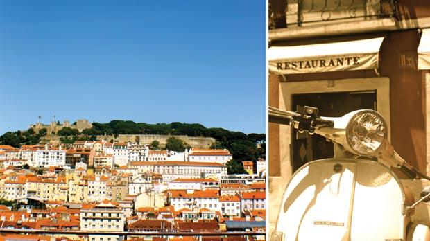 Lisbon's picturesque skyline. Right: Scooters are an option if you do not wish to travel by tram.