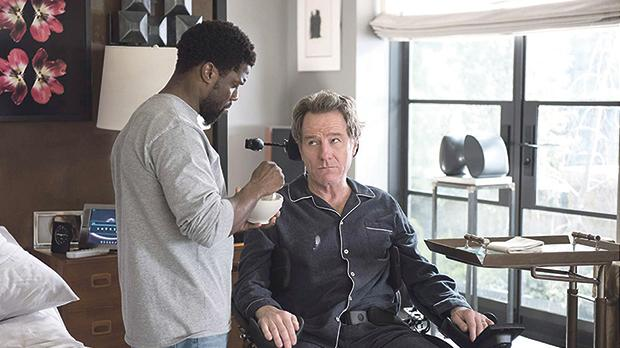 Bryan Cranston (right) finds an unlikely friend in Kevin Hart in The Upside.