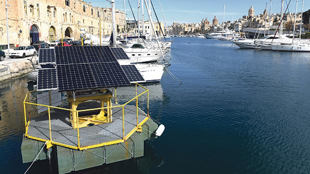 Maltese scientists have developed an innovative offshore energy storage system that was awarded a Statement of Feasibility by an independent certification body. The prototype of the structure is pictured here in Vittoriosa. Photos: Matthew Mirabelli