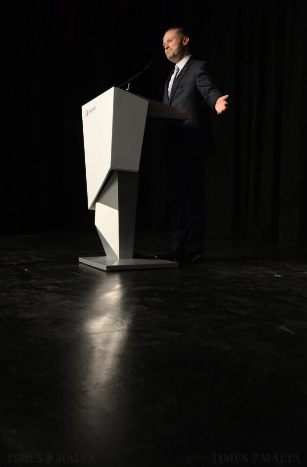Prime Minister Joseph Muscat addresses senior citizens during a rally at the City Theatre in Valletta on May 29. Photo: Matthew Mirabelli