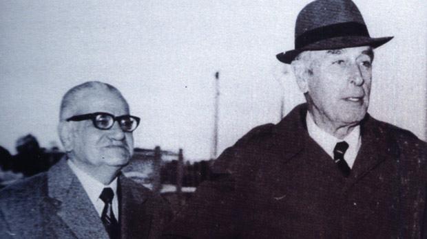 Joe Micallef with Lord Mountbatten in Malta in 1977.