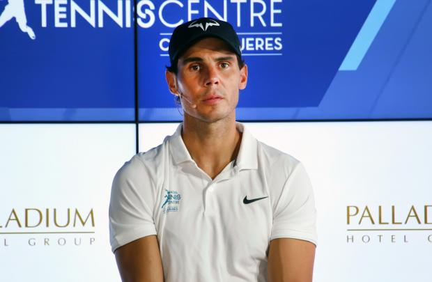 "Spanish tennis player Rafael Nadal during the inauguration of the ""Rafa Nadal Tennis Centre"" at the Palladium Hotel in the Mexican seaside resort of Cancun."