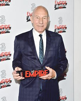 Patrick Stewart with the Empire legend award at the Three Empire Awards held at The Roundhouse in Chalk Farm, London. Photos: Matt Crossick/PA Wire