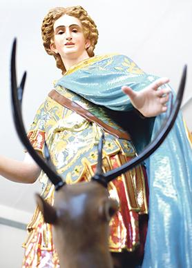 The original colours of the St Julian statue were uncovered during a 10-month restoration process.