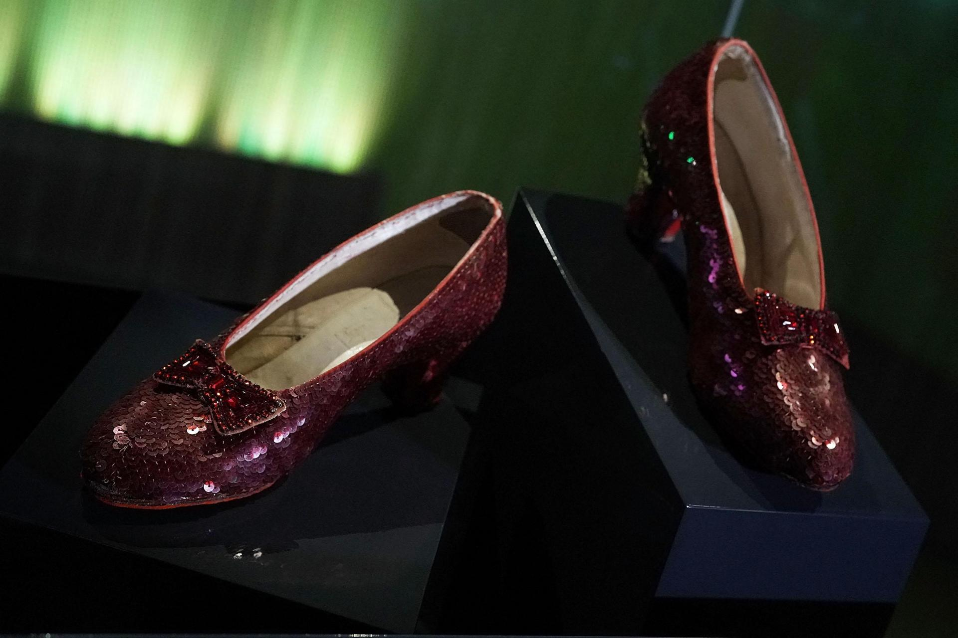 The ruby slippers which Judy Garland wore during the 1939 filming of 'The Wizard of Oz'. Photo: Alex Wong/Getty Images North America/Getty Images via AFP