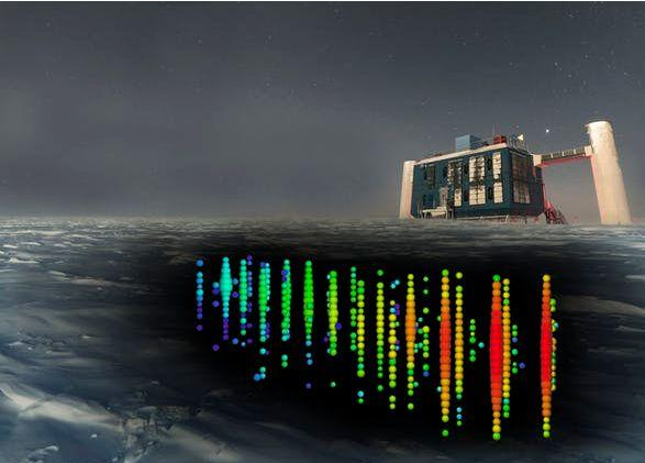 Sensors below the ice detected the neutrino, which was registered by computers in the IceCube building. IceCube/NSF