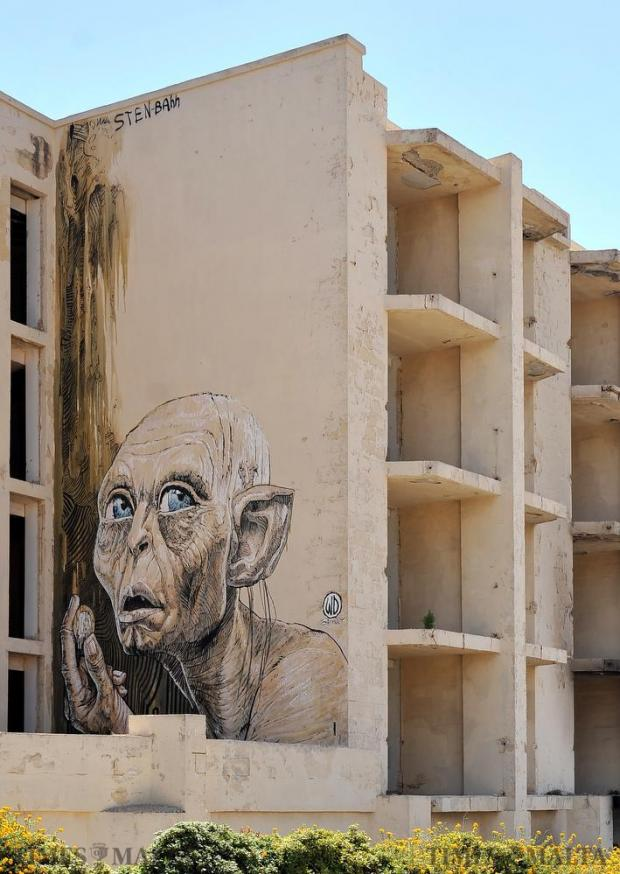 A graffiti art piece graces the façade of the Jerma Palace on August 21. Photo: Chris Sant Fournier
