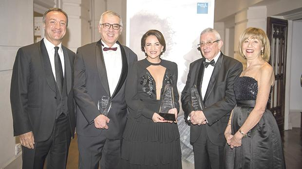 From left: Global Capital chairman Paolo Catalfamo, Prof. Stephen Montefort, the Prime Minister's wife, Michelle Muscat, Prof. Alex Felice and Global Capital Health Insurance executive director Adriana Zarb Adami.