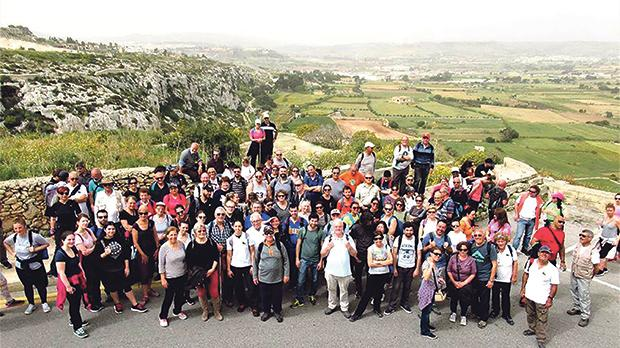 About 140 people, including members of the Ramblers' Association, lovers of the outdoors and other locals and foreigners, took part in the walk.