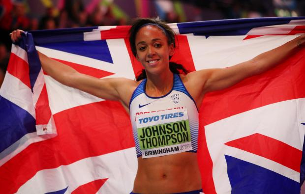 Katarina Johnson-Thompson celebrates winning the Women's Pentathlon.