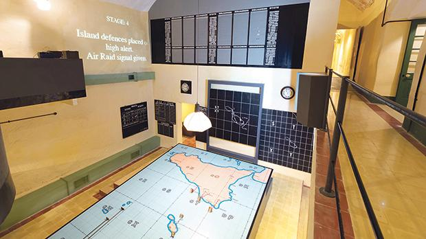 View of the tote board arrangement in the RAF Sector Operations Room used to plan the defence of Malta and invasion of Sicily during World War II headquarters Lascaris War Rooms, Valletta. Photo: Shutterstock.com