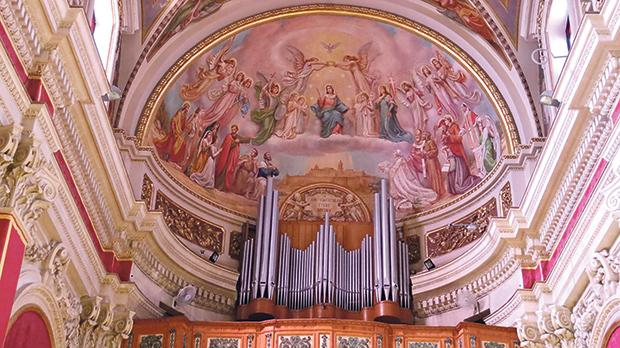 The gallery organ apse painting showing the glory of Our Lady. Photos: Charles Spiteri