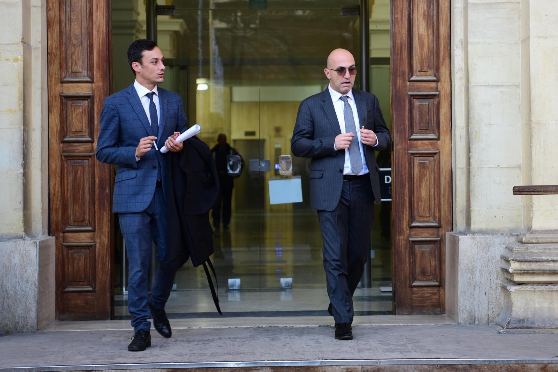 Yorgen Fenech (right) outside court with lawyer Gianluca Caruana Curran last November. Photo: Mark Zammit Cordina