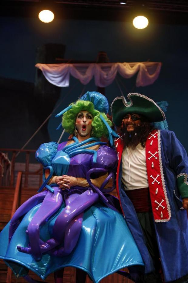 "Actors Jean-Pierre Busuttil and Joe Depasquale play Mama Sufia and Billy Bones respectively in MADC's pantomime ""Treasure Island"" at the MFCC in Ta' Qali on December 18. Photo: Darrin Zammit Lupi"