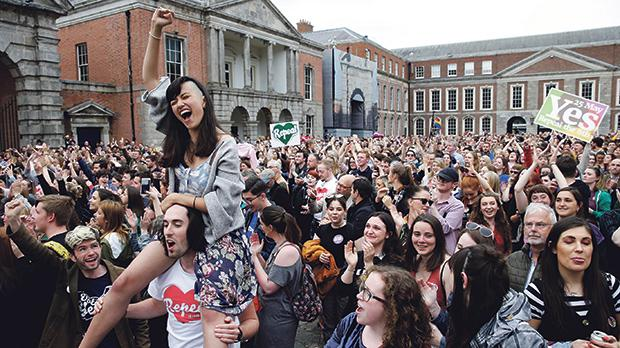 People celebrate the result of a referendum on liberalising abortion law, in Dublin, Ireland. Photo: Max Rossi/Reuters