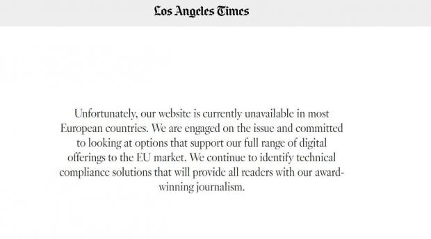 The message European users see when browsing to the Los Angeles Times website,
