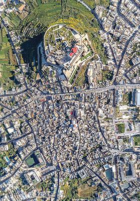 An aerial photo of the Ċittadella and Rabat