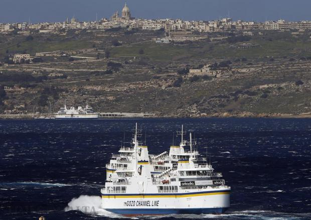 Two Gozo Channel ferry boats meet half way across the channel on February 18. Photo: Darrin Zammit Lupi