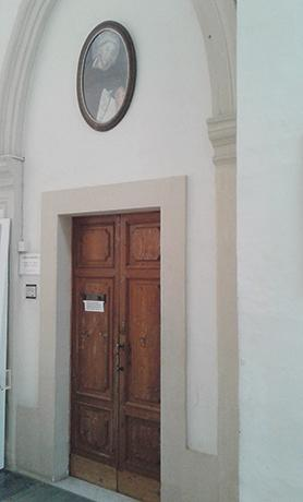 The baptismal registry found at the convent of the Dominican community adjacent to the church.