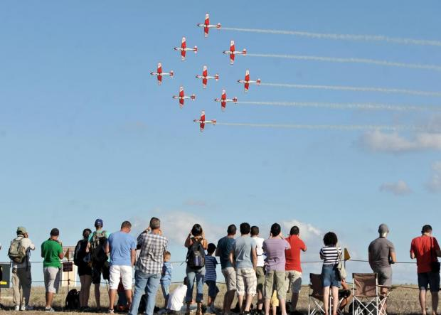 The Swiss Air Force aerobatic team flying PC-7s at the Malta Airshow on September 26. Photo: Chris Sant Fournier