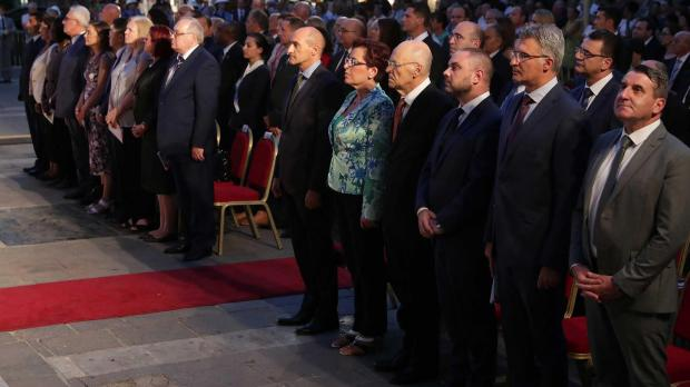 Dignitaries attend the Thursday evening wreath-laying ceremony. Photo: DOI/Omar Camilleri