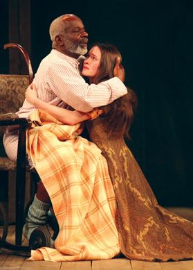 Joseph Marcell as Lear and Bethane Cullinane as Cordelia in the Globe Theatre's King Lear. Photo: Ellie Kurttz