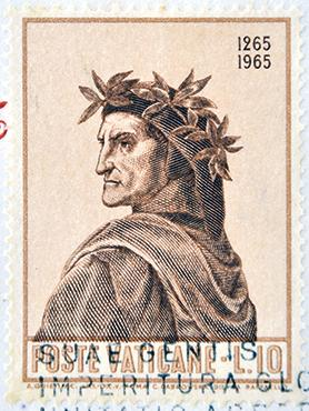 A stamp printed at the Vatican dedicated to the anniversary of the birth of Dante.