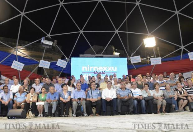 Opposition leader Simon Busuttil speaks to activists during the Independence Day activities organized by the Nationalist Party at the Granaries in Floriana on September 19. Photo: Mark Zammit Cordina