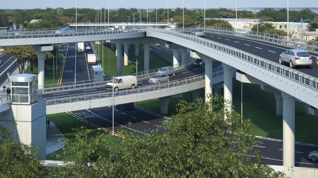 At four storeys high, the junction will boast the island;s tallest flyover