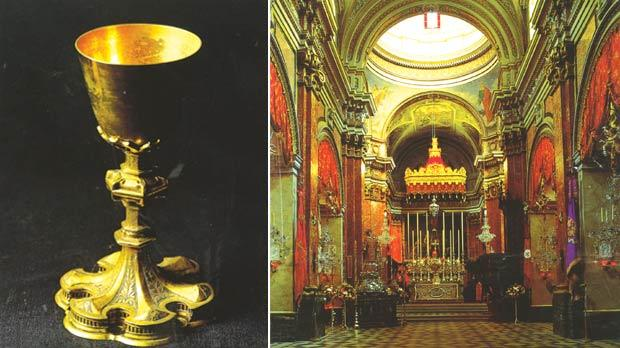 An early 16th-century chalice previously used in the ancient troglodytic chapel in Fort St Angelo. Right: Interior of St Lawrence church, Vittoriosa, formerly the conventual church of the Order of St John.