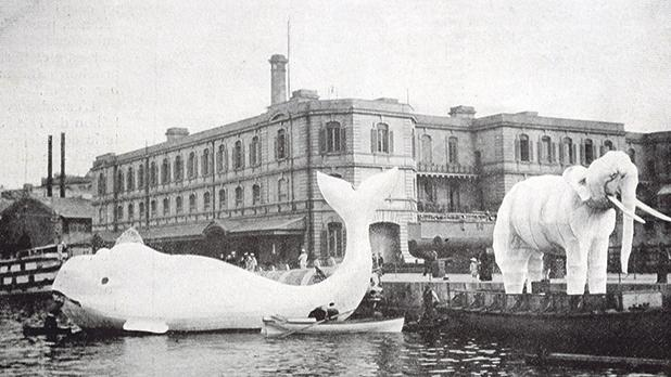 Water carnival floats of a whale from HM's Drydocks, and of an elephant from HMS Canopus.