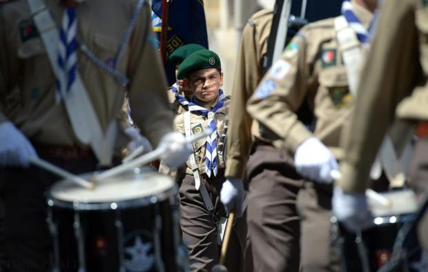 Scouts from various groups around the island march down Republic street during the annual scout parade on April 26. Photo: Matthew Mirabelli