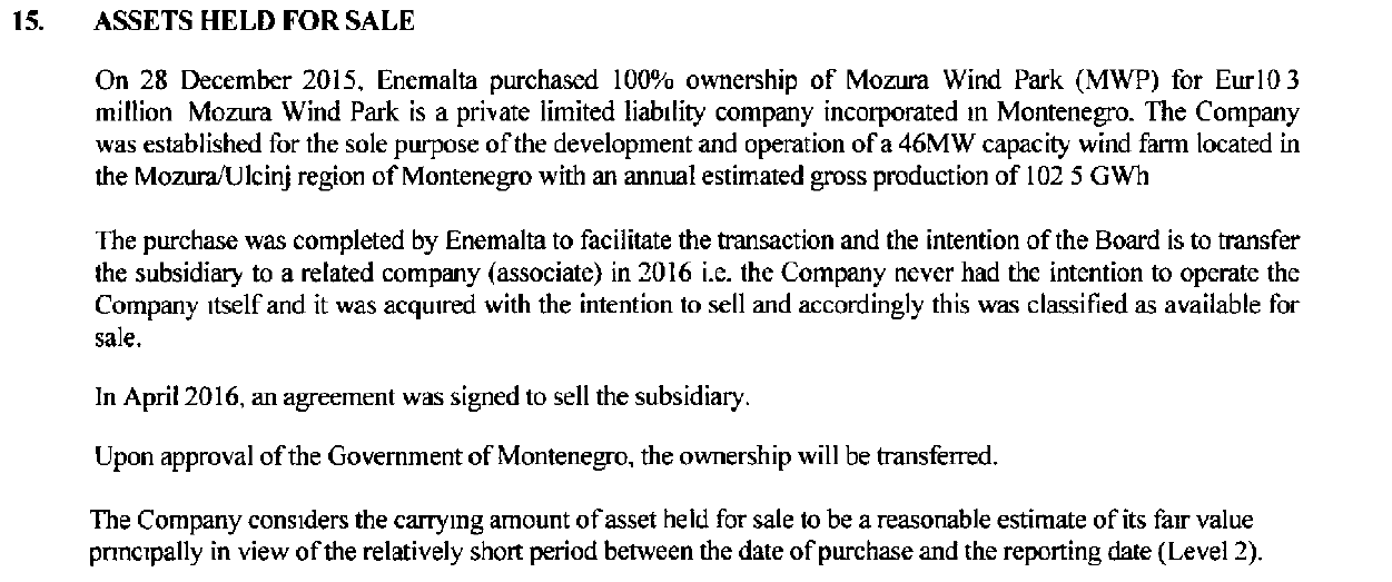 Enemalta's 2015 accounts state it paid €10.3 million for the Mozura wind farm shares.
