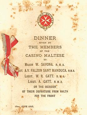 Casino Maltese dinner menu, June 19, 1915.