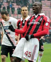 Mario Balotelli celebrates his goal against Palermo.