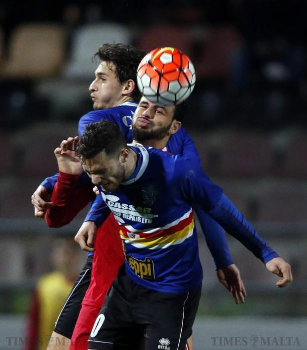 Balzan's Pedrinho (centre) is boxed in by Tarxien Rainbow's Tristan Caruana (rear) and Daniel Zerafa during their Premier League football match at the Hibs Stadium in Corradino on March 1. Photo: Darrin Zammit Lupi