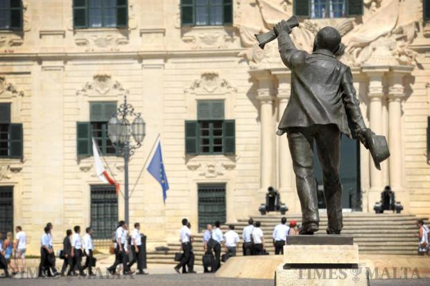The statue of Manwel Dimech in Castille Place in Valletta is seen on August 29. Photo: Matthew Mirabelli