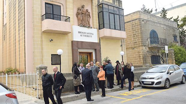 Broadcasting Authority staff during a protest outside their offices in Ħamrun earlier this year. Photo: Mark Zammit Cordina