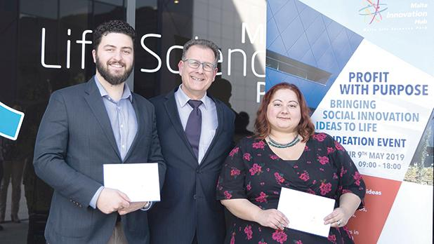 Ing. Joseph Sammut (centre) together with Benjamin LeBrun from Texting Panda, an app to support young people coping with mental health challenges and Elaine Compagno from Meraki, a social enterprise to support victims of domestic abuse get back into employment.