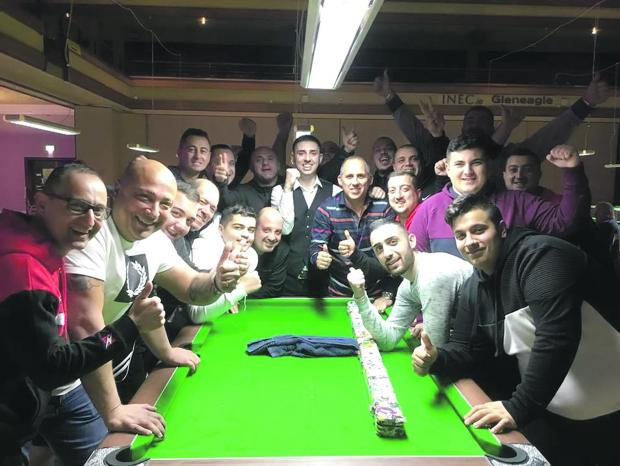Scott Muscat (centre) celebrates his European Championship victory with team-mates and fans in Ireland.